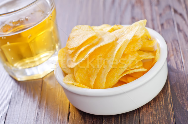 chips from potato with beer Stock photo © tycoon