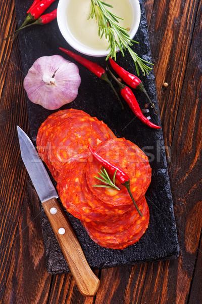 Chorizo fa deszka asztal étel piros tábla Stock fotó © tycoon