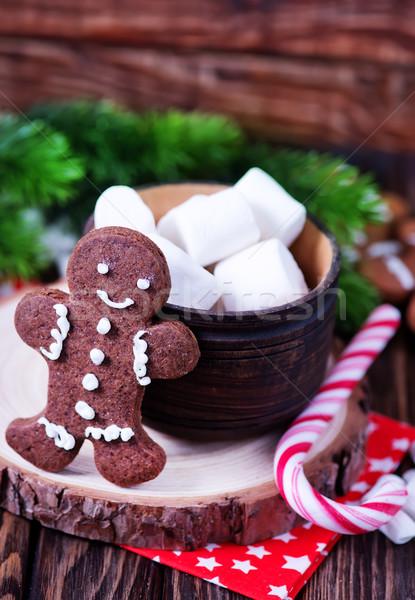 Noel kurabiye şeker içmek kırmızı beyaz Stok fotoğraf © tycoon