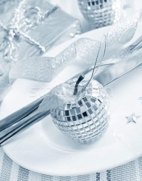 place setting for christmas with star Stock photo © tycoon