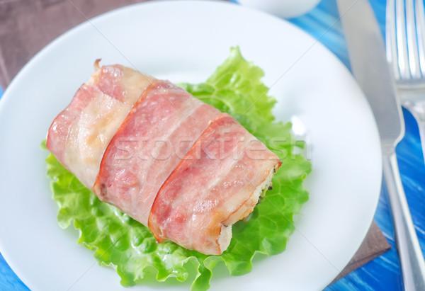 Tyúk zsemle szalonna étterem olaj hús Stock fotó © tycoon