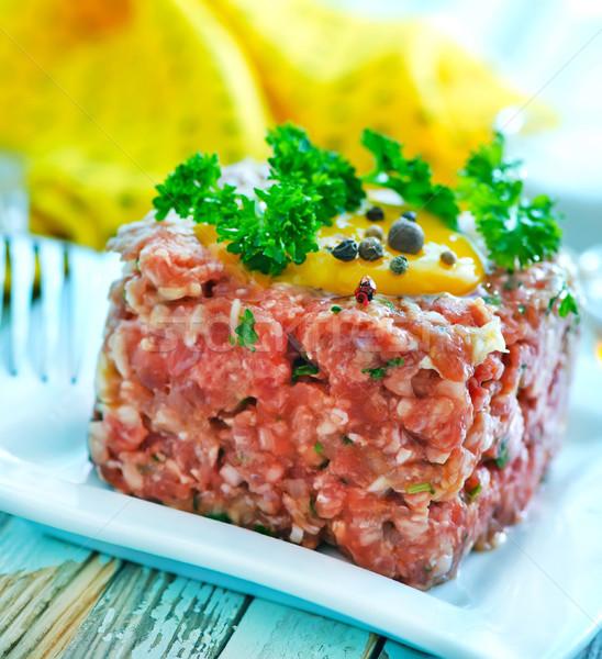 Foto d'archivio: Carne · tar · tuorlo · piatto · uovo · pane