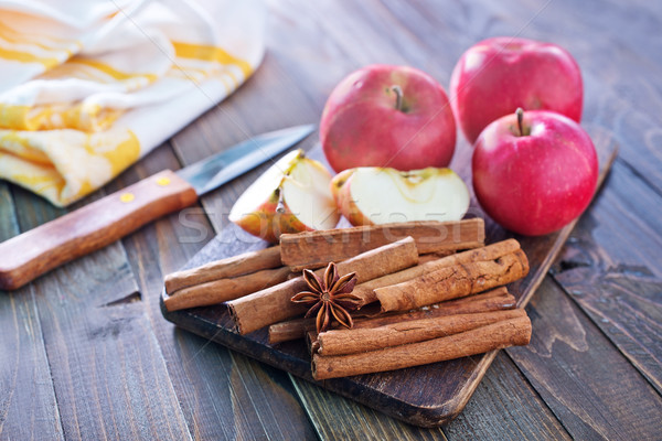 Foto stock: Manzanas · canela · madera · manzana · diseno · grupo