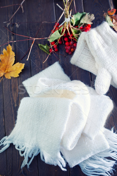 Eldiveni eşarp beyaz ahşap masa arka plan erkekler Stok fotoğraf © tycoon