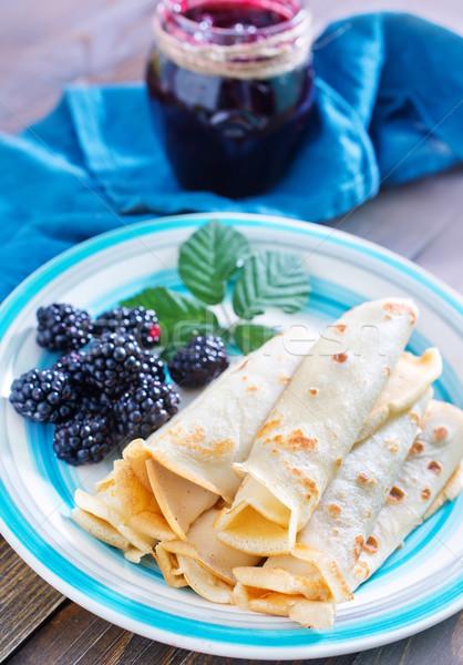 Stok fotoğraf: Kek · plaka · kahvaltı · yağ · öğle · yemeği · sarı