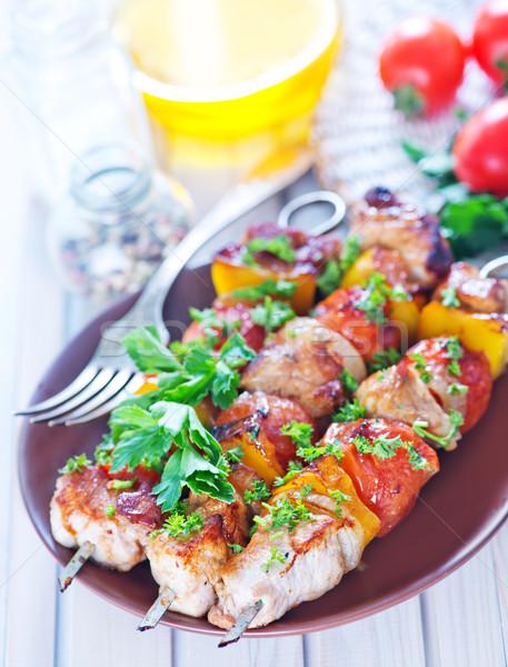 Sült kebab tányér asztal étel buli Stock fotó © tycoon