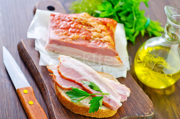 Foto stock: Peças · fumado · carne · de · porco · bacon · comida · carne