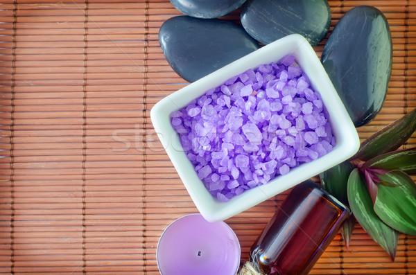 Tengeri só test egészség pálma fürdőkád fehér Stock fotó © tycoon