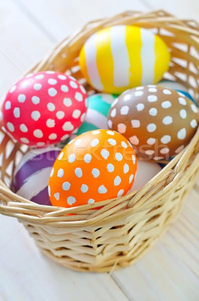 œufs de Pâques fleurs bois oeuf blanche vacances Photo stock © tycoon