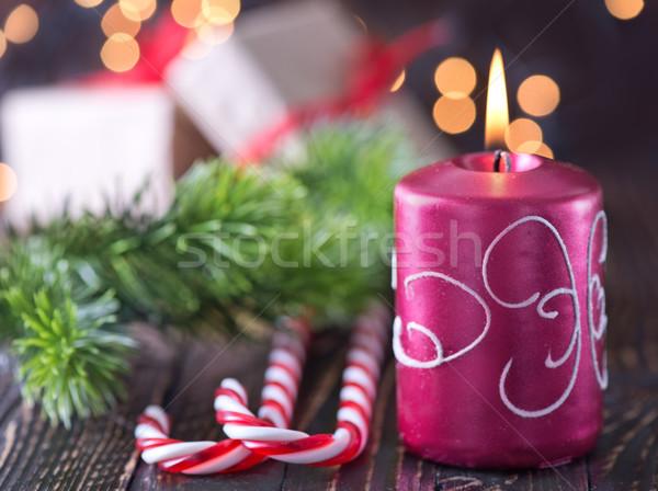 Natale decorazione candela albero abstract luce Foto d'archivio © tycoon