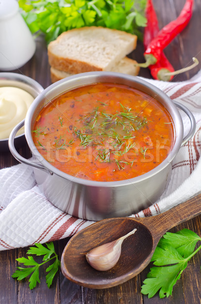 soup with meat and rice Stock photo © tycoon