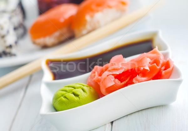 Zencefil soya sosu beyaz çanak sağlık akşam yemeği Stok fotoğraf © tycoon