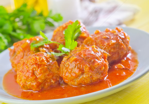 Carne pelota salsa de tomate alimentos hoja grupo Foto stock © tycoon