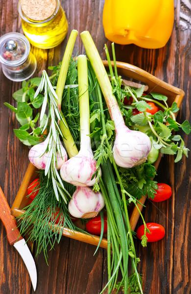 чеснока аромат трава лоток таблице фон Сток-фото © tycoon
