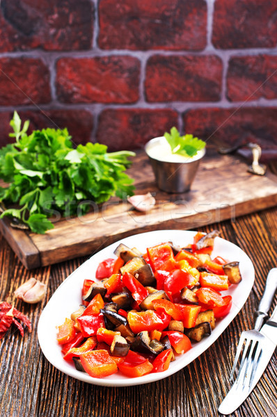fried eggplant with other vegetables Stock photo © tycoon