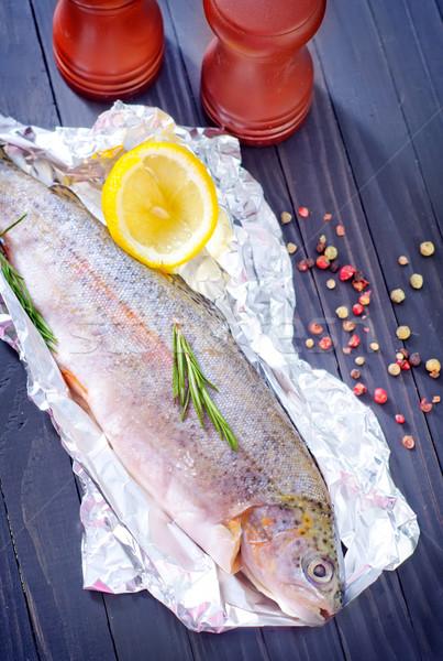 ストックフォト: 生 · 魚 · 食品 · 頭 · 動物 · 冷たい