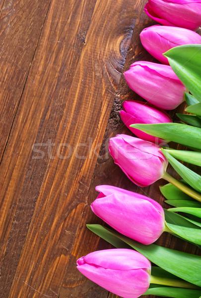 Tulipánok virág tavasz levél kert háttér Stock fotó © tycoon