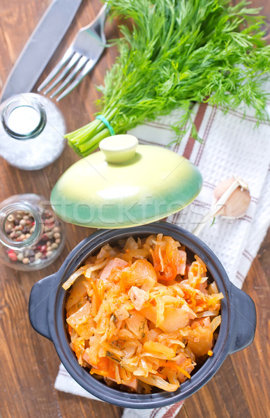 fried cabbage with tomato sauce Stock photo © tycoon