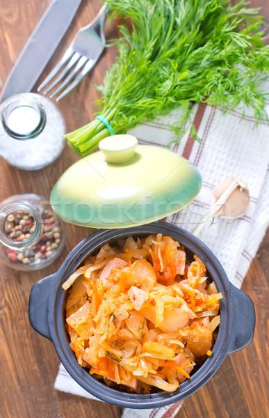 Cavolo salsa di pomodoro alimentare legno bar Foto d'archivio © tycoon