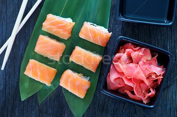 Sushi fresche tavola frutti di mare pesce cucina Foto d'archivio © tycoon