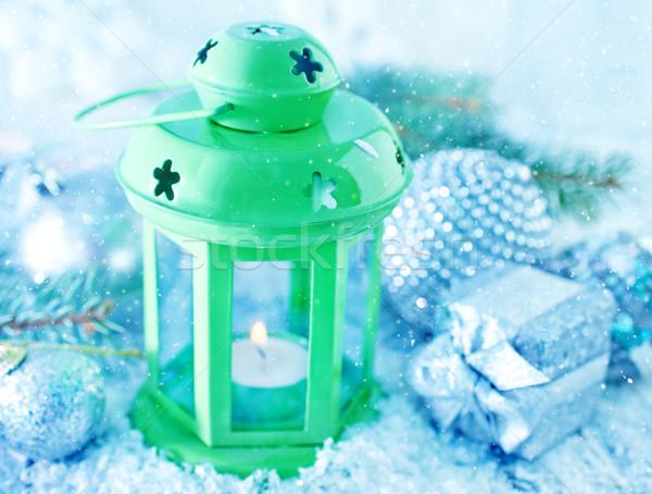 Grünen Lampe Weihnachten Dekoration Schnee Hintergrund Stock foto © tycoon