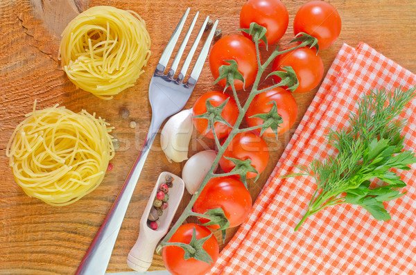 Makarna domates doku gıda ahşap Stok fotoğraf © tycoon