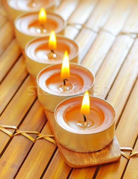 Mumlar yangın imzalamak iç renk bambu Stok fotoğraf © tycoon