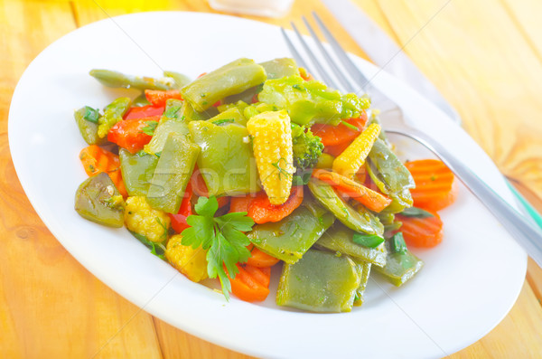 Zöldség villa ebéd pamut edény fokhagyma Stock fotó © tycoon