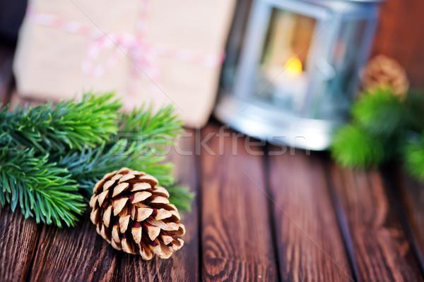 Natal verde ramo tabela madeira projeto Foto stock © tycoon