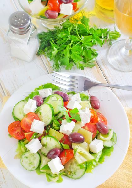 Griego ensalada fondo verde pimienta frescos Foto stock © tycoon