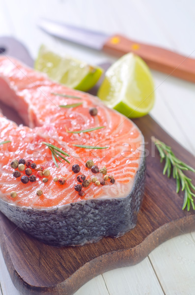 raw salmon steak Stock photo © tycoon