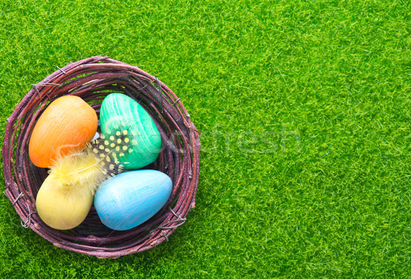 Dekorativ gemalt Ostereier Tabelle Ostern Himmel Stock foto © tycoon