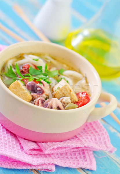 soup with noodles and seafood Stock photo © tycoon