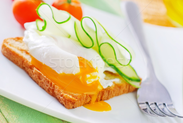 toast with poached eggs Stock photo © tycoon