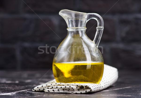 óleo de girassol vidro garrafa tabela flor comida Foto stock © tycoon