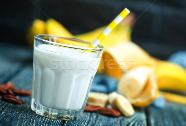 Banane yogourt noix verre fruits blanche Photo stock © tycoon
