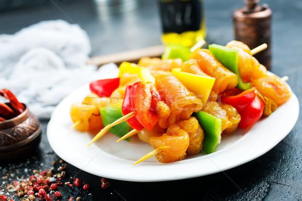 сырой мяса кебаб Spice продовольствие овощей Сток-фото © tycoon