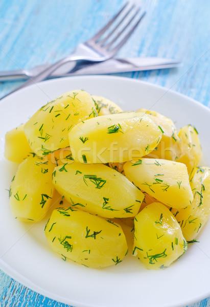 Bouilli de pomme de terre plaque table alimentaire nature Photo stock © tycoon