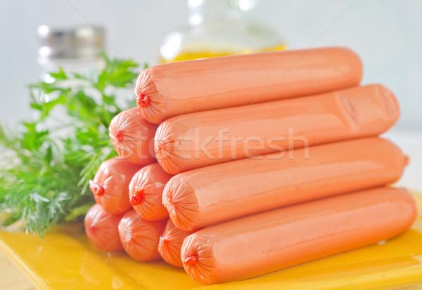 Sosis gıda arka plan yeşil akşam yemeği et Stok fotoğraf © tycoon