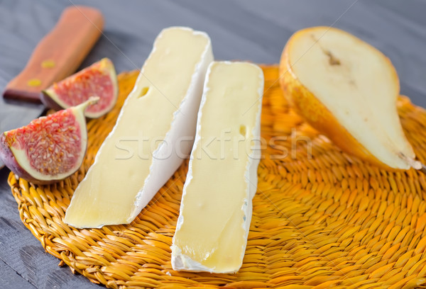 Camembert voedsel hout achtergrond melk mes Stockfoto © tycoon