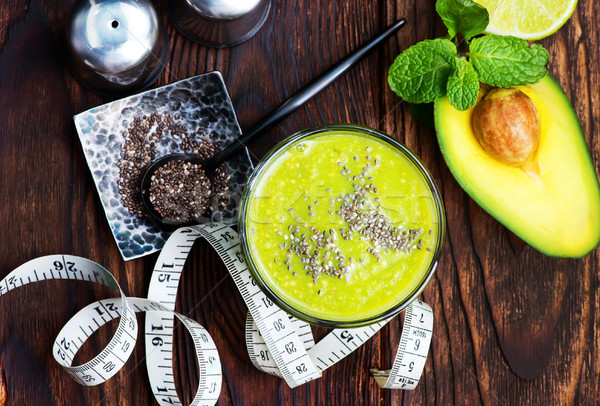Avokádó smoothie magok üveg zöld stúdió Stock fotó © tycoon