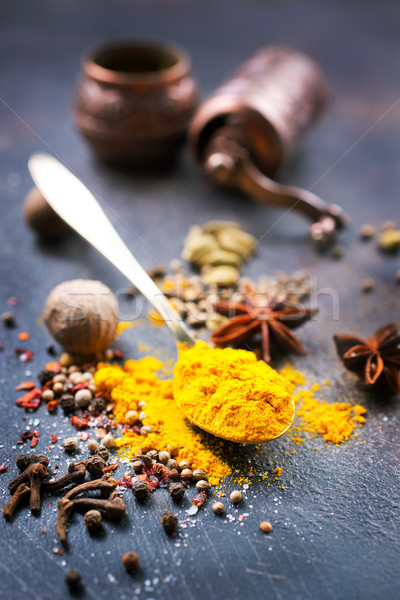 Aroma Spice knoflook zout tabel voedsel Stockfoto © tycoon