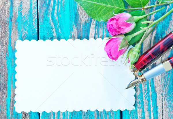 flowers and sheet for note Stock photo © tycoon