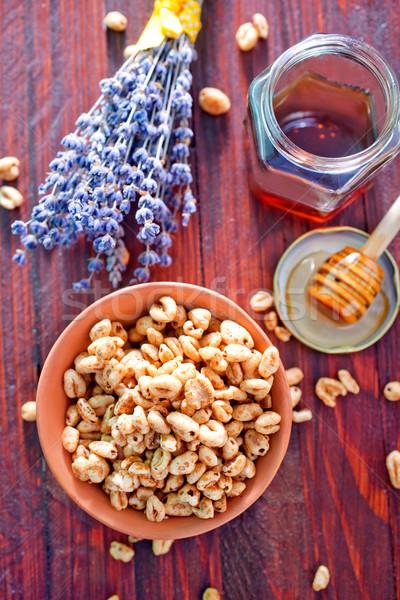 Déjeuner fruits santé vintage bord miel Photo stock © tycoon