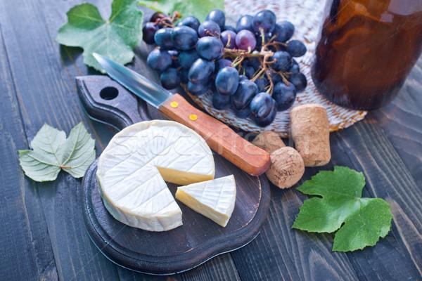 Sajt camembert szőlő étel levél tej Stock fotó © tycoon