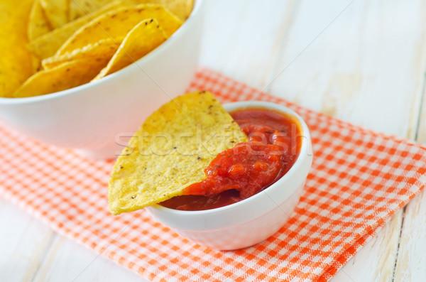 Nachos rouge maïs chaud déjeuner mexican Photo stock © tycoon