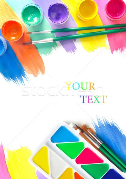 Tanszerek munka terv festék oktatás szivárvány Stock fotó © tycoon