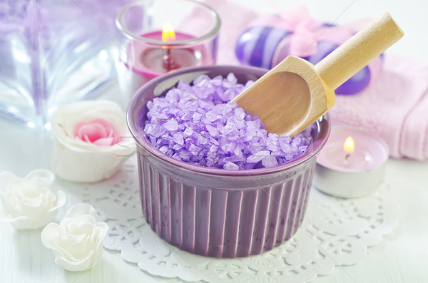 sea salt, soap and candle Stock photo © tycoon