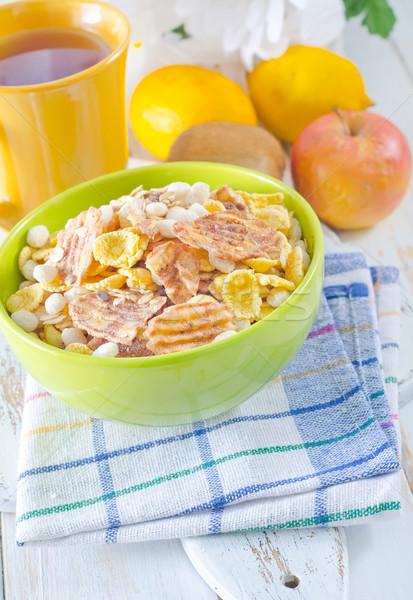 Müzli étel gyümölcs kék csoport reggeli Stock fotó © tycoon