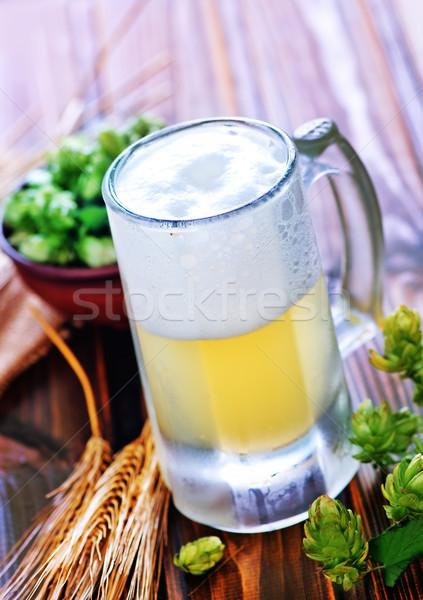 Bier glas houten tafel licht tabel bar Stockfoto © tycoon